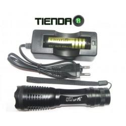 Linterna con Zoom Ultrafire E5, Led XM-L T6, 900 Lum