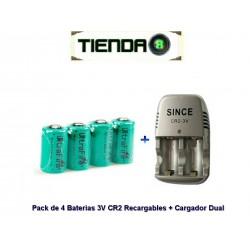 Pack De 4 Baterias 3v Cr2 Recargables + Cargador Dual