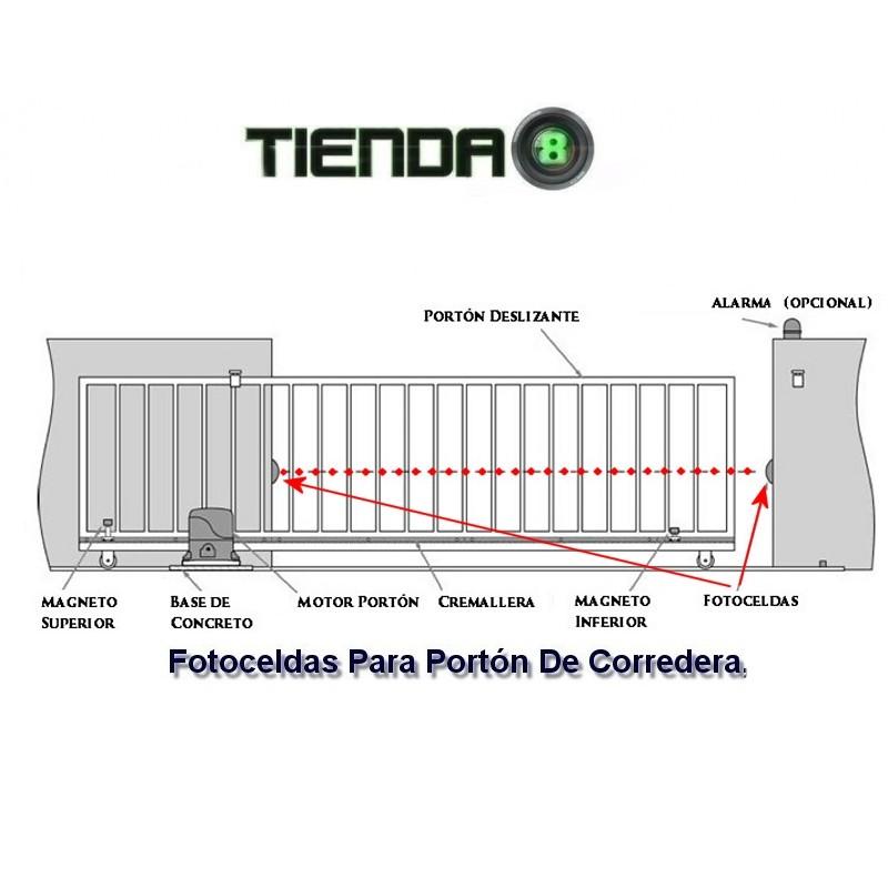 Par de fotoceldas para port n de corredera 12v 24v ac dc - Portal de corredera ...
