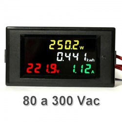 Medidor 4 en 1, de Voltaje, Corriente, Potencia y Energía AC