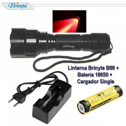 Pack Linterna Brinyte B88X Roja, Batería Sky Ray 18650 y Cargador Single