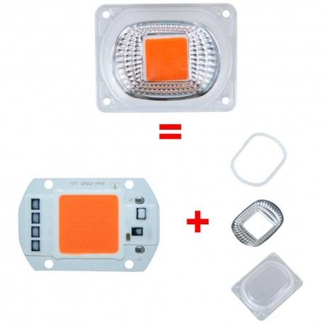 Pack COB Led Full Spectrum 50W + Reflector, O' Ring Y Cubierta
