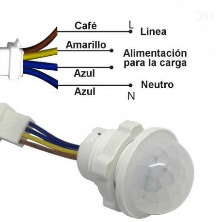 Interruptor Sensor de Movimiento PIR, Para 220VAC, 20mm