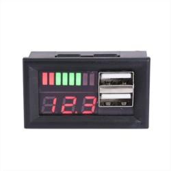 Mini Voltímetro Digital Automóvil, 2 Puertos USB, 12 a 60Vdc