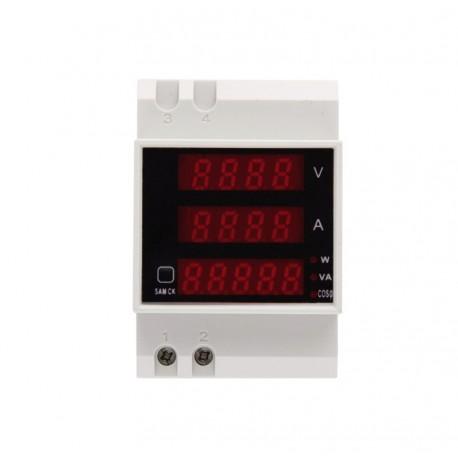 Voltímetro, Amperímetro, Medidor Potencia Digital D52-2048 Para Riel DIN