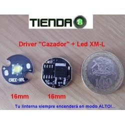 Circuito Regulador 16mm, 2,5A, para Linternas de 1 Batería 18650