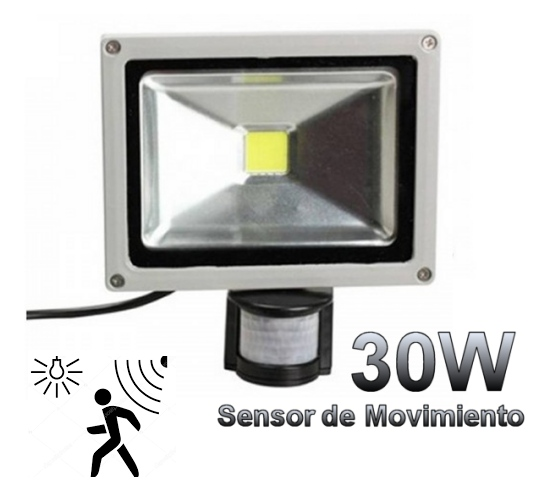 Proyector led 30w 1 x chip led epistar con sensor de for Detector movimiento exterior