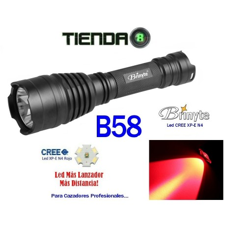 Linterna Lanzadora Brinyte B58 Led Rojo XP-E, N4, 150 Lúmenes