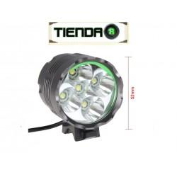 Linterna de Cabeza 5xT6, Led CREE XM-L T6, 2000 Lúmenes Reales