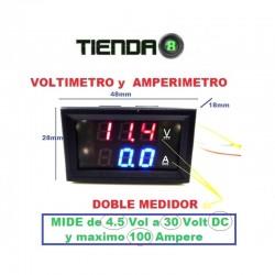 Voltímetro y Amperímetro Digital, 30V, 100A, Multiples Usos