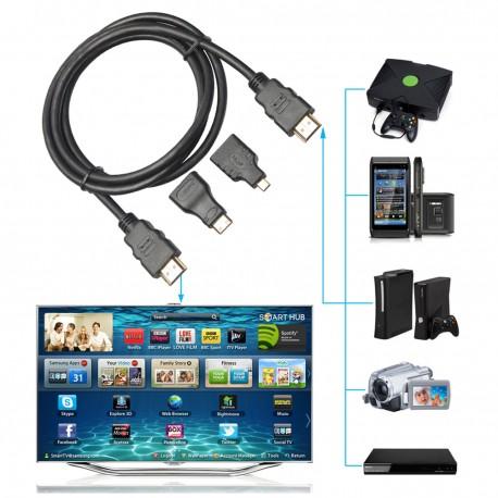 Cable Hdmi 3 En 1, 1,5m, Incluye Adaptador Micro y Mini HDMI