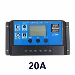 Regulador / Controlador de Carga Solar 20A 12/24V