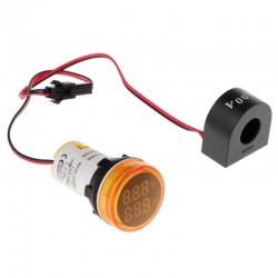 Mini Amperimetro y Voltimetro Digital AC, Luz Piloto.