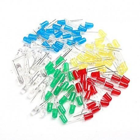 100 Diodos Led 3mm, Rojo, Verde, Azul, Blanco y Amarillo
