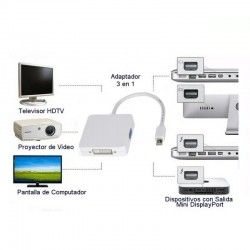 Adaptador 3 en 1, Mini DisplayPort a VGA/HDMI/DVI