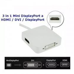 Adaptador 3 en 1 Mini Displayport A Hdmi, Dvi o Displayport