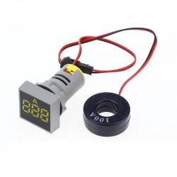 Amperímetro Digital AC, 28mm, Luz Piloto, 100A, Toroide