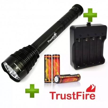 Pack Linterna Extrema J18, 3 Baterías 3400mAh TrustFire y Cargador