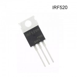 Transistor Mosfet IRF520, Canal N, 100V, 9A, TO-220