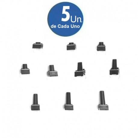 Switch Botón 6x6mm, 5 Unidades de 10 Tipos, 50 Piezas Total