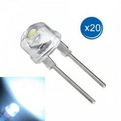 20 X Diodo Led 0.3W, 3.2V, 100mA, 8mm, Blanco Frío, Arduino