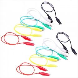 Pack de 10 Cables Flexibles Tipo Pinza Caimán, 50cm Largo