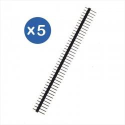 Pack de 5 Tiras Header Macho 40 Pines c/u, 2.54mm Separación