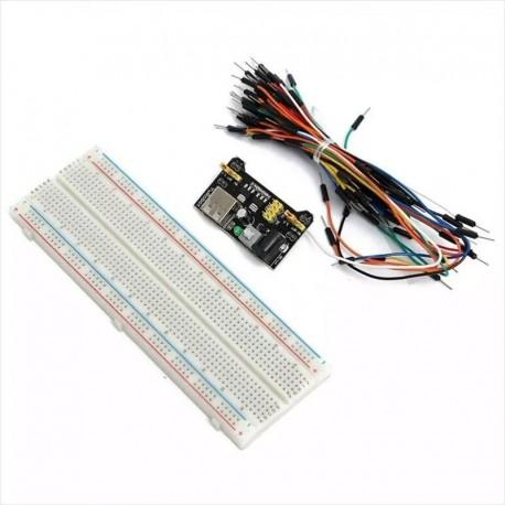 Kit Protoboard 830 Puntos + Fuente Mb-102 3.3v + 65 Cables