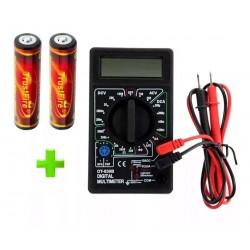 Pack 2 Baterías TrustFire 18650, 3000mAh + Multímetro Digital DT-830B