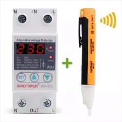 Relé Protección Sobre y Bajo Voltaje SVP912 + Lápiz Detector AC