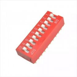 Switch Dip 5, 6, 8, 10, Interruptor 2.54mm, Rojo, Deslizable