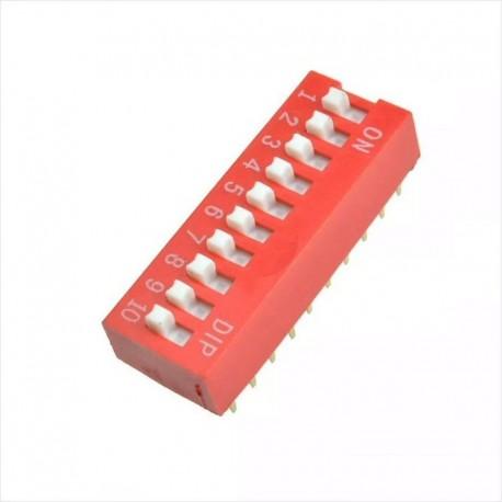 Dip-5, 6, 8, 10, Interruptor 2.54mm, Rojo, Deslizable