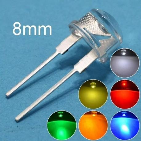 10 X Diodos Led 0.3w, 8mm, Blanco, Rojo, Azul, Verde, Azul, Amarillo