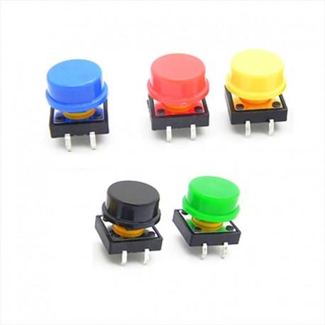 Botón Pulsador Cuadrado 12mm + Tapa de Color