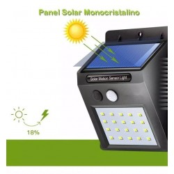 Mini Foco 20 Led, 480Lum, Panel Solar y Sensor PIR