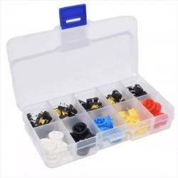 Kit de 25 Botón Pulsador Cuadrado 12mm + 25 Tapas de Colores