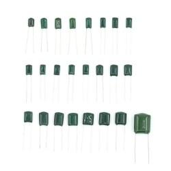 24 Condensadores dePolyesterSurtidos, desde 0.22nF to 470nF / 100V