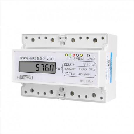 Medidor Trifasico Digital DDS576 KWh DIN AC 380V 5(100)A 50Hz, Sinotimer