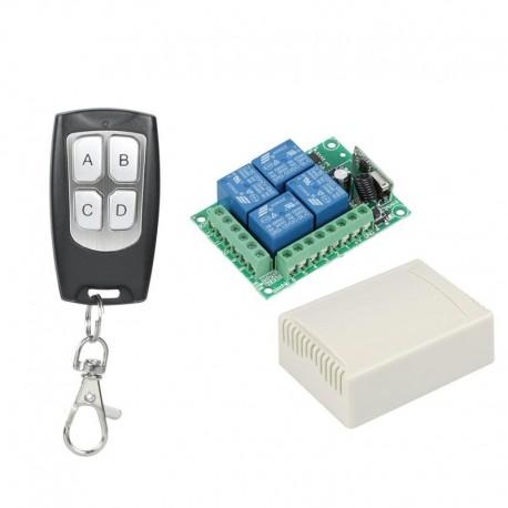 Kit de Relés Inalámbricos con Control Remoto RF 433Mhz 4 Canales