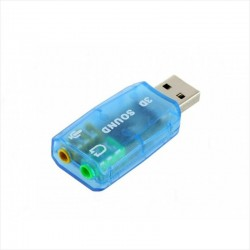 Tarjeta de Sonido USB 3D, Entrada Micrófono y Salida Parlante
