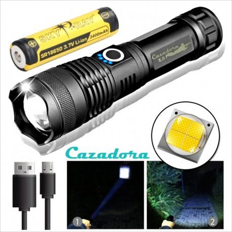 Pack Linterna Cazadora Z8 Led XHP50 + Batería Sky Ray 18650 3400mAh