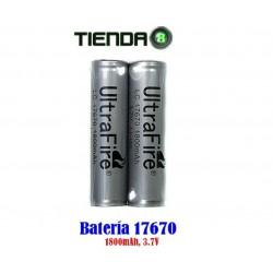 Baterías de Litio 17670, 3.7v, 1800mAH - Ultrafire Protección FULL